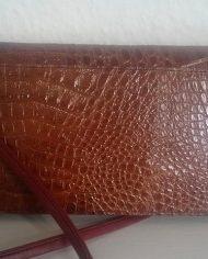Vintage – Skulderttaske – Crossbody – Imiteret læder – Krokodille – Brun – Genbrug – Trend – Bagfra