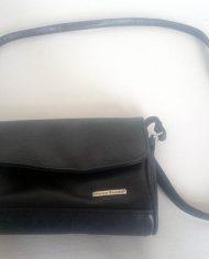 Dametaske – 1990 – Sort – Læder – Crossbody – Retro – Vintage – Genbrug