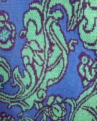 Strik – Cardigan – Jaquard – TapetMønster – Coboltblå – Jadegrøn – Retro – Trend – Genbrug – Nærbillede