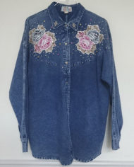 Skjorte – Denim – Aplikationer – 80'erne – Oversize – Retro – Genbrug – Trend – Mie Arida – 1
