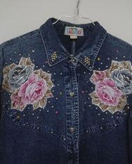 Skjorte – Denim – Aplikationer – 80'erne – Oversize – Retro – Genbrug – Trend – Mie Arida – Nærbillede