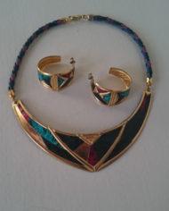 Halskæde – Øreringe – Sæt – Guld – Læder – Slangeprint – 80'erne – Retro – Genbrug – Trend – Mie Arida – 1