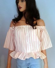 Offshoulder – Bluse – Stribet – Trend – Laksefarvet – Upcycling – Herreskjorte