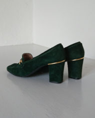 Sko – Loafers – Ruskind – Guld – Flaskegrøn – Vintage – Genbrug – Trend – Mie Arida – Bagfra