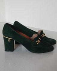 Sko – Loafers – Ruskind – Guld – Flaskegrøn – Vintage – Genbrug – Trend – Mie Arida – Siden
